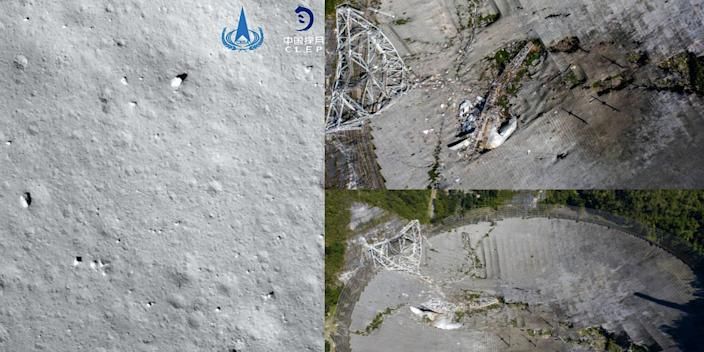 Left: China National Space Administration Right: These two aerial views shows the damage at the Arecibo Observatory after one of the main cables holding the receiver broke in Arecibo, Puerto Rico, on December 1, 2020. - The radio telescope in Puerto Rico, which once starred in a James Bond film, collapsed Tuesday when its 900-ton receiver platform fell 450 feet (140 meters) and smashed onto the radio dish below.