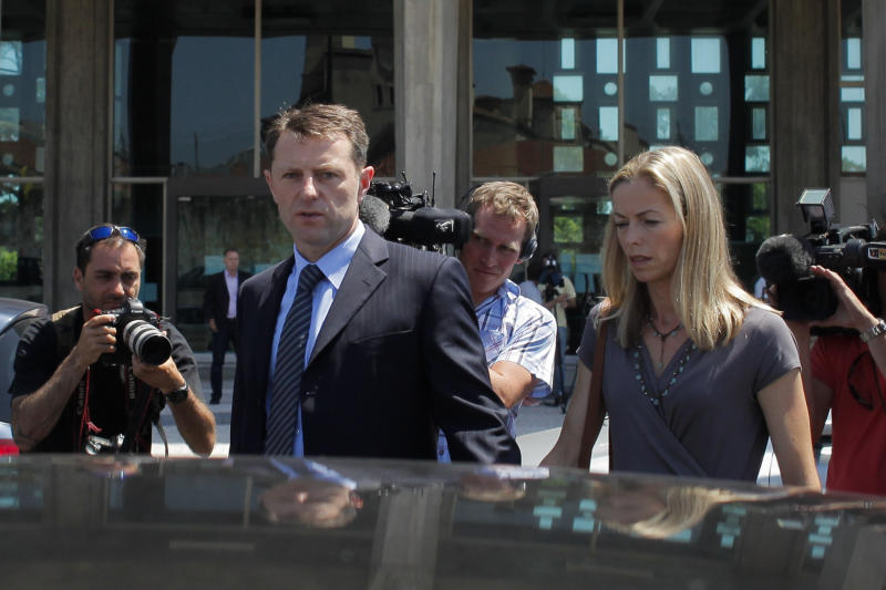 Britons Kate McCann (R) and Gerry McCann (L), parents of missing British girl Madeleine McCann, leave to the court house in Lisbon on June 16, 2014 after the closing arguments of the McCann couple's libel proceedings against former inspector Goncalo Amaral for a book written about the case of their missing daughter. Kate McCann and her husband Gerry are suing Amaral in a Lisbon court for the book in which he argues Madeleine was killed accidentally and implicates her parents in her alleged 2007 death. The court adjourn the session to July 8, 2014. Photo by Pedro Nunes/Sipa USA