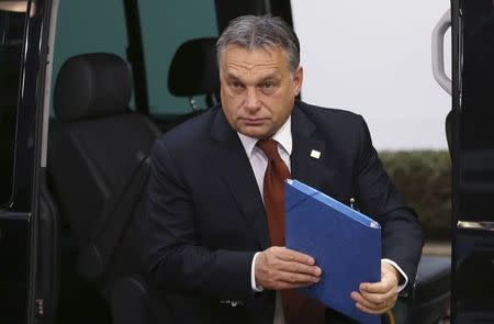Hungary's PM Orban arrives at an EU leaders summit in Brussels
