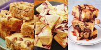 "<p>We. Love. Blondies. They're one of our favourite <a href=""https://www.delish.com/uk/cooking/recipes/g33631981/easy-desserts/"" rel=""nofollow noopener"" target=""_blank"" data-ylk=""slk:desserts"" class=""link rapid-noclick-resp"">desserts</a>, and they're SO easy to make up. Plus, there's lots of variations! We're talking <a href=""https://www.delish.com/uk/cooking/recipes/a35945411/banana-blondies/"" rel=""nofollow noopener"" target=""_blank"" data-ylk=""slk:Banoffee Blondies"" class=""link rapid-noclick-resp"">Banoffee Blondies</a> (yes really), <a href=""https://www.delish.com/uk/cooking/a34247641/caramac-blondies/"" rel=""nofollow noopener"" target=""_blank"" data-ylk=""slk:Caramac Blondies"" class=""link rapid-noclick-resp"">Caramac Blondies</a> (game-changing) and even <a href=""https://www.delish.com/uk/cooking/recipes/a31190492/carrot-cake-blondies/"" rel=""nofollow noopener"" target=""_blank"" data-ylk=""slk:Carrot Cake Blondies"" class=""link rapid-noclick-resp"">Carrot Cake Blondies</a>. They're fugdy, chewy and buttery - and outrageously delicious! Have we tempted you? Take a look at some of our top-notch blondie recipes for the ultimate hybrid dessert. We're convinced you'll love them as much as we do! </p>"