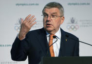 In this May 4, 2019, file photo, International Olympic Committee President Thomas Bach speaks at the Australian Olympic Committee annual general meeting in Sydney, Australia. Bach and other members have dismissed a new study from the University of Oxford that finds Tokyo is the most expensive Summer Games dating back to 1960. (AP Photo/Rick Rycroft, File)
