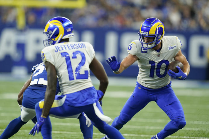 Los Angeles Rams' Cooper Kupp (10) runs during the first half of an NFL football game against the Indianapolis Colts, Sunday, Sept. 19, 2021, in Indianapolis. (AP Photo/Michael Conroy)