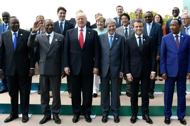 G7 leaders, pictured in 2017, say their finance ministers will talk to each other weekly as the coronavirus ravages the global economy (AFP Photo/STEPHANE DE SAKUTIN)