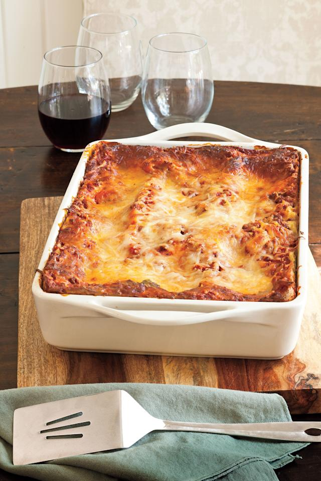 "<p><strong>Recipe:</strong> <a href=""https://www.southernliving.com/syndication/vanessas-make-ahead-beefy-lasagna""><strong>Vanessa's Make-Ahead Beefy Lasagna</strong></a></p> <p>A container of refrigerated pesto adds distinctive flavor to this basic beef-and-cheese lasagna, and the unbaked lasagna can be frozen for up to three months. </p>"