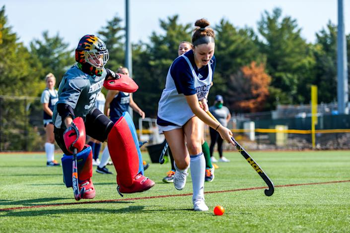 Endicott College senior goalie Taylor Farrin, a Bishop Fenwick alumna from Danvers, prepares to make a save during a recent scrimmage. (Endicott College Sports Information)