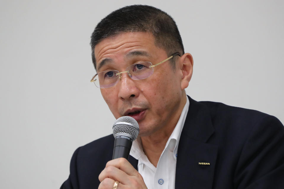 """FILE - In this Sept. 9, 2019, file photo, then Nissan Chief Executive Hiroto Saikawa speaks during a press conference in the automaker's headquarters in Yokohama, near Tokyo. Former Nissan Chief Executive Saikawa told a Japanese court Wednesday, Feb. 24, 2021, he believed the compensation for his predecessor Carlos Ghosn was too low """"by international standards,"""" and so he supported Ghosn's retirement packages to prevent him from leaving. (AP Photo/Koji Sasahara, File)"""