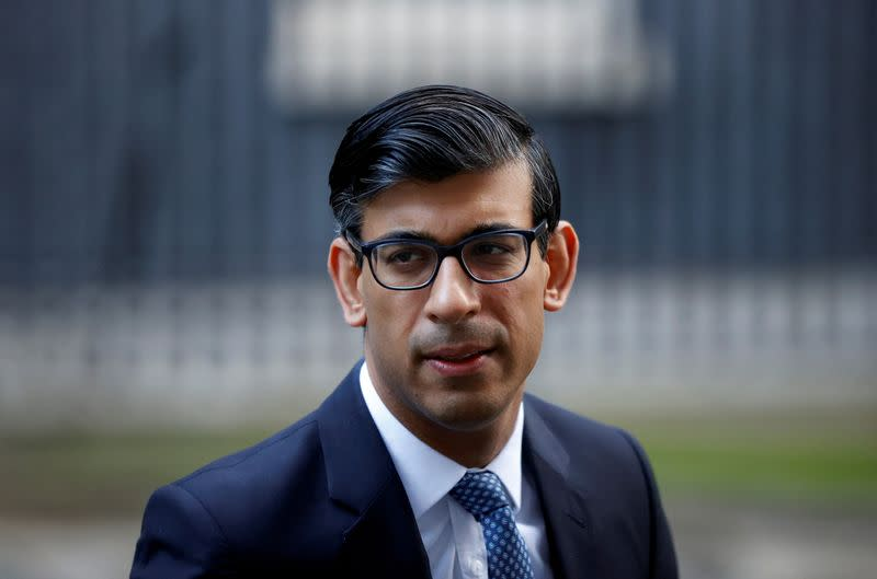 FILE PHOTO: Britain's Chancellor of the Exchequer Rishi Sunak leaves Downing Street, in London