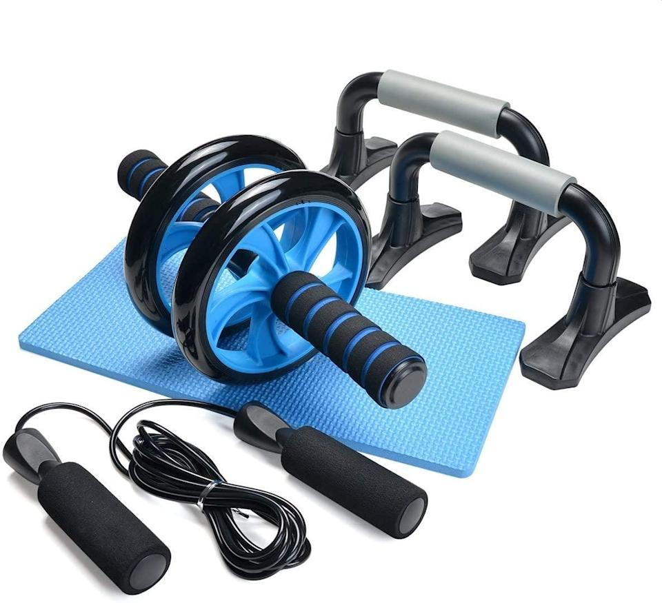 <p>Expand your home gym with the <span>Odoland 4-in-1 AB Wheel Roller Kit</span> ($20) comes with a pair of push-up bars, a jumprope and knee pad. It's perfect for core strengthening workouts.</p>