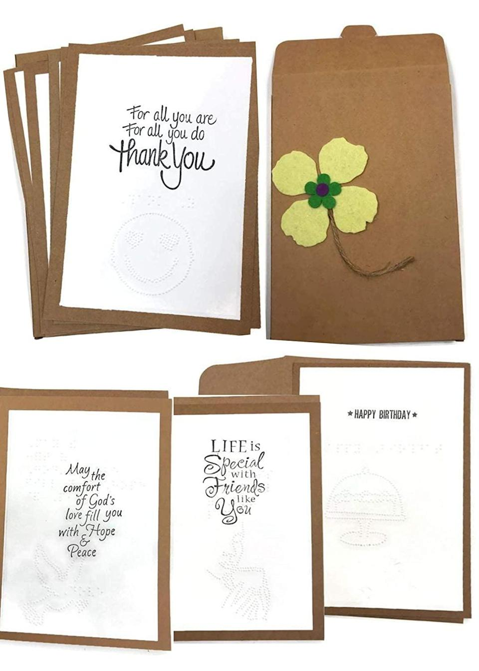 <p>These <span> Greetings In Braille: Braille Variety Pack Note Cards, </span> ($20) are perfect for saying thank you, Happy Birthday, thinking of you, and more.</p>