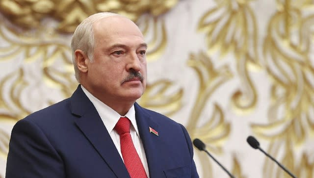 File image of Belarusian president Alexander Lukashenko at his inauguration ceremony at the Palace of the Independence in Minsk, Belarus. AP