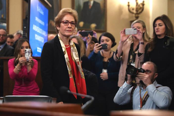 Former U.S. Ambassador to Ukraine Marie Yovanovitch arrives to testify to the House Intelligence Committee on Capitol Hill in Washington, Friday, Nov. 15, 2019.
