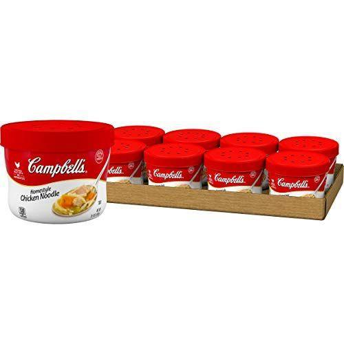 """<p><strong>Campbell's</strong></p><p>amazon.com</p><p><strong>$11.04</strong></p><p><a href=""""https://www.amazon.com/dp/B0029TJTLG?tag=syn-yahoo-20&ascsubtag=%5Bartid%7C10049.g.32793292%5Bsrc%7Cyahoo-us"""" rel=""""nofollow noopener"""" target=""""_blank"""" data-ylk=""""slk:Shop Now"""" class=""""link rapid-noclick-resp"""">Shop Now</a></p><p>Chances are you won't have access to a stove, so these microwavable little soup cups will come in clutch when it's a freezing cold night and you don't want to venture outside to the dining hall. </p>"""