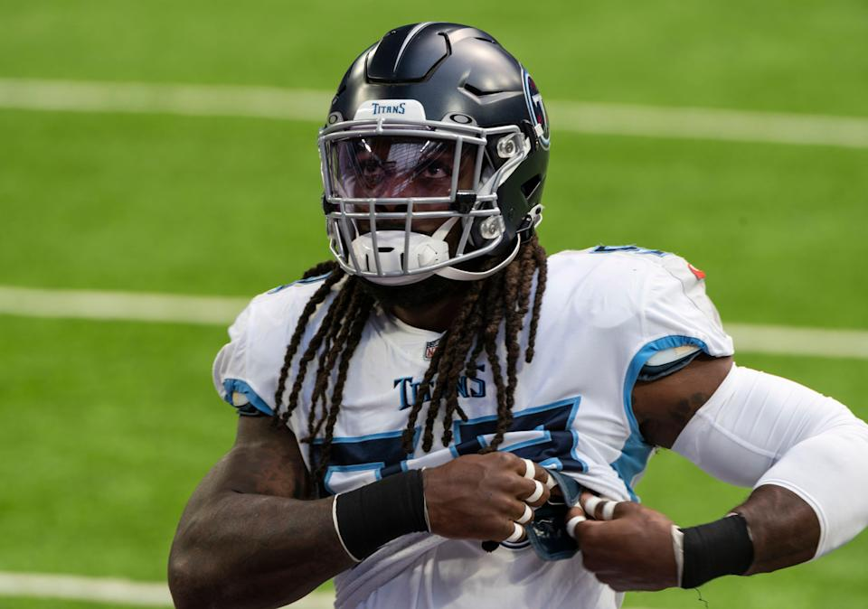 Jadeveon Clowney (99) of the Tennessee Titans warms up before the game against the Minnesota Vikings at U.S. Bank Stadium on September 27, 2020 in Minneapolis, Minnesota.