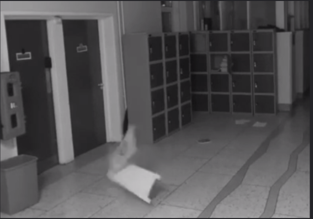 The ghost could be seen violently shaking lockers in the school. Photo: Deerpark CBS