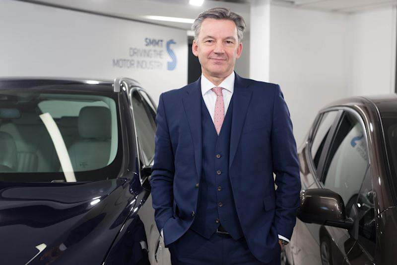 EDITORIAL USE ONLY Mike Hawes, CEO Society of Motor Manufacturers and Traders, announces the 2016 UK automotive industry's production and export figures, at the SMMT HQ in London.