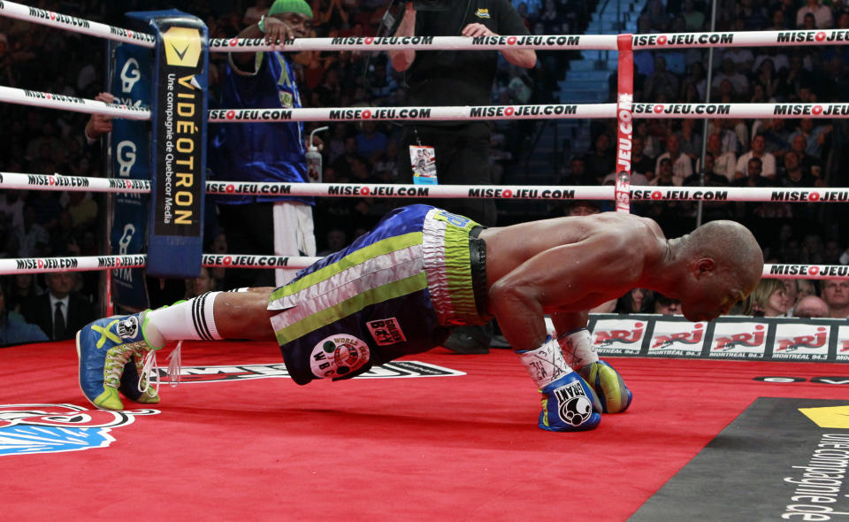 WBC light-heavyweight boxer Bernard Hopkins of U.S. celebrates his win over Jean Pascal of Montreal during their title fight in Montreal May 21, 2011. REUTERS/Christinne Muschi (CANADA - Tags: SPORT BOXING)
