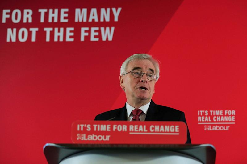 Shadow Chancellor John McDonnell speaks on the economy in London (REUTERS)