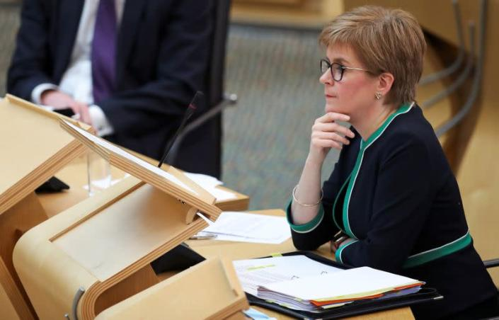 Scotland's First Minister Sturgeon answers questions in Scottish Parliament