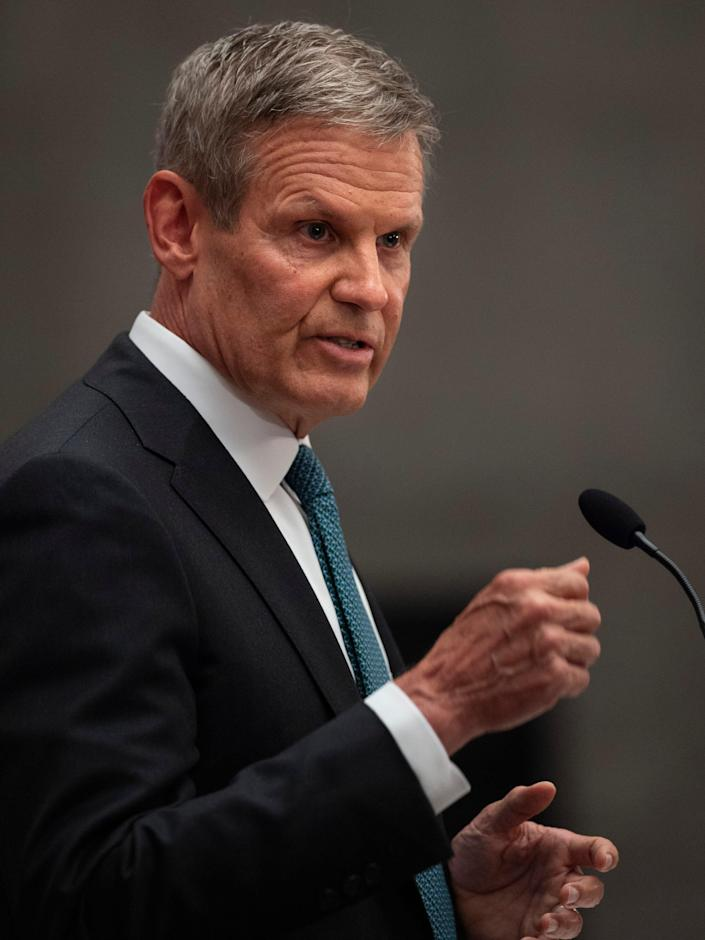 Gov. Bill Lee announces a new series of partnerships to fight human trafficking during a press conference at the State Capitol Thursday, May 13, 2021 in Nashville, Tenn.