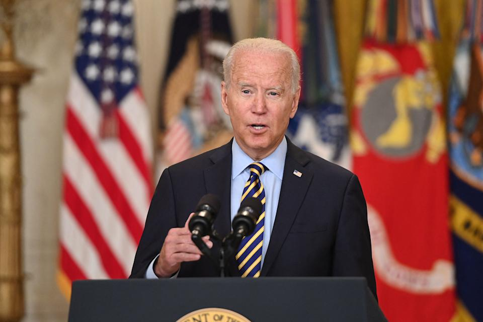 TOPSHOT - US President Joe Biden speaks about the situation in Afghanistan from the East Room of the White House in Washington, DC, July 8, 2021. (Photo by SAUL LOEB / AFP) (Photo by SAUL LOEB/AFP via Getty Images)
