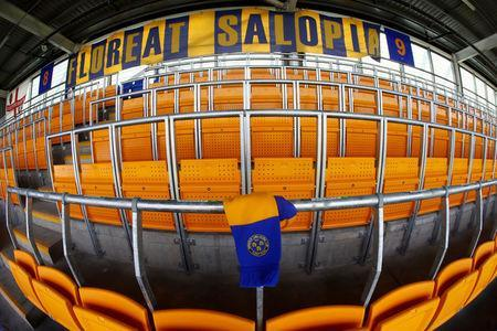 Soccer Football - League One - Shrewsbury Town Safe Standing Press Launch - Montgomery Waters Meadow, Shrewsbury, Britain - May 22, 2018 General view of the safe standing area during the Press Launch Action Images/Jason Cairnduff
