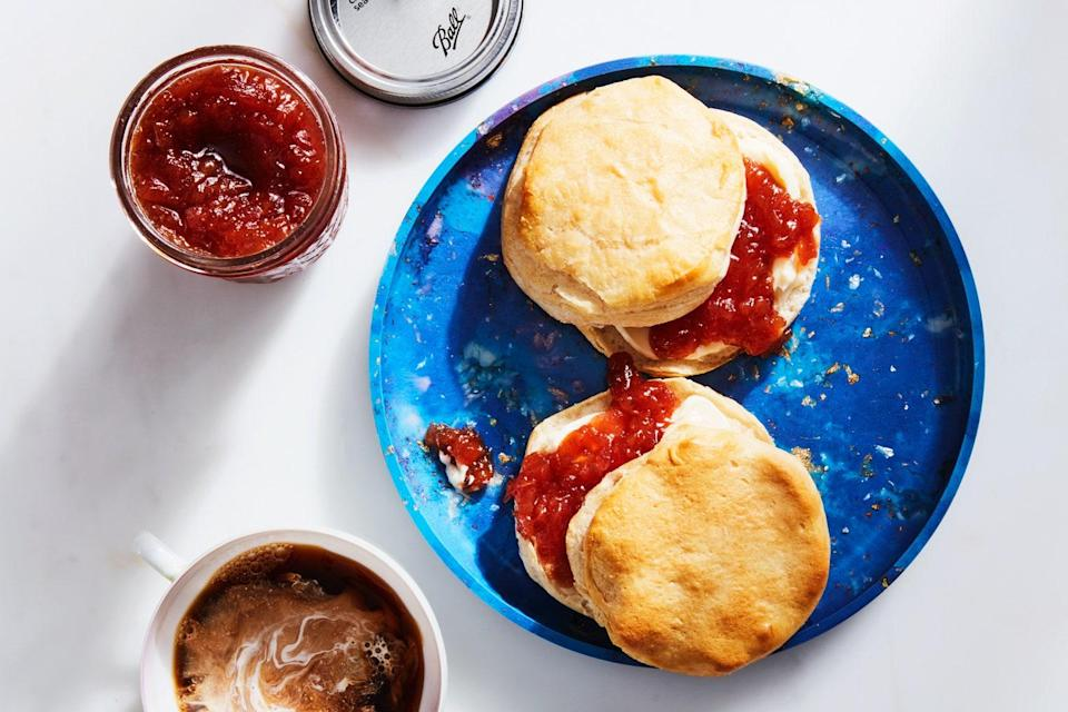 """Preserve summer with this simple jam full of fresh peach flavor with hints of vanilla and bourbon. <a href=""""https://www.epicurious.com/recipes/food/views/peach-bourbon-jam?mbid=synd_yahoo_rss"""" rel=""""nofollow noopener"""" target=""""_blank"""" data-ylk=""""slk:See recipe."""" class=""""link rapid-noclick-resp"""">See recipe.</a>"""