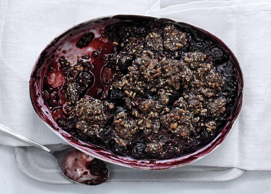 "Buckwheat flour has an earthy, mineral flavor that pairs especially well with tart fruits, like these cherries. <a href=""https://www.bonappetit.com/recipe/sweet-and-sour-cherry-and-buckwheat-crumble?mbid=synd_yahoo_rss"" rel=""nofollow noopener"" target=""_blank"" data-ylk=""slk:See recipe."" class=""link rapid-noclick-resp"">See recipe.</a>"