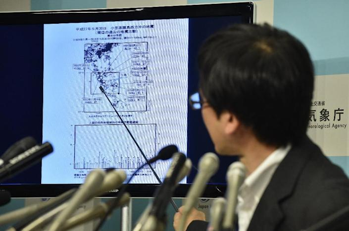 Japan Meteorological Agency earthquake expert Koji Nakamura speaks during a press conference in Tokyo on May 30, 2015, after a 7.8-magnitude earthquake struck off the Japanese coast (AFP Photo/Kazuhiro Nogi)