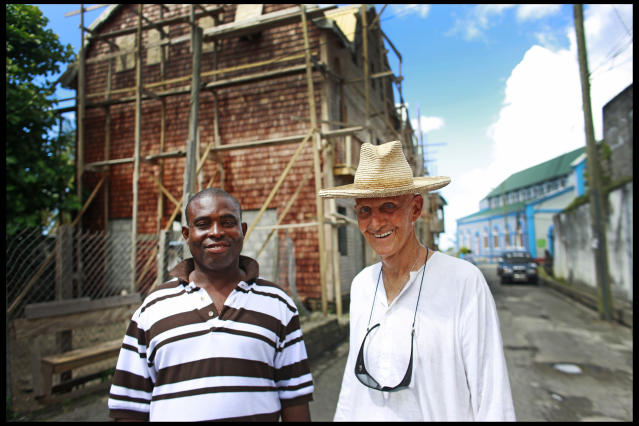 Colin Tennant (Lord Glenconnor), with his longtime help Kent Adonai, who's inherited Tennant's entire estate in his will. Photographed in Choiseul, St. Lucia. November 2009. | Location: choiseul, st.lucia. (Photo by David Howells/Corbis via Getty Images)