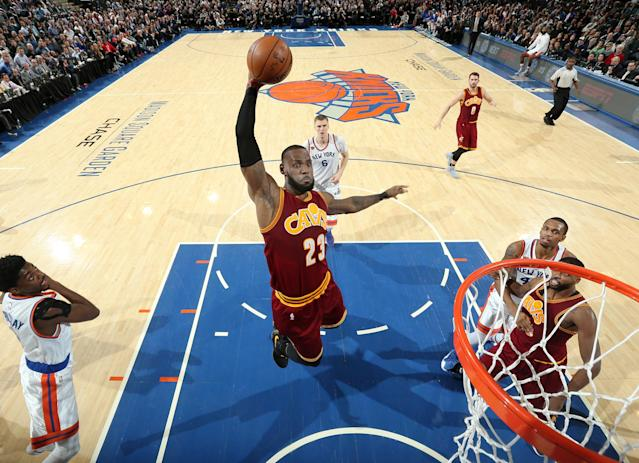 LeBron James slices through the Knicks' defense for a dunk. (Nathaniel S. Butler/NBAE/Getty Images)