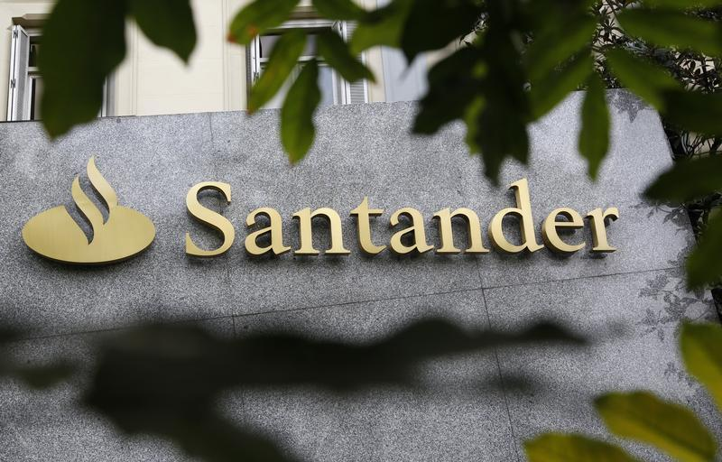 The logo of Spanish bank Santander is seen outside a building in Madrid
