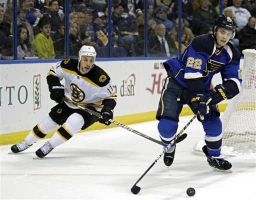 St. Louis Blues' Kevin Shattenkirk (22) controls the puck ahead of Boston Bruins' Gregory Campbell (11) during the first period of an NHL hockey game, Wednesday, Feb. 22, 2012, in St. Louis. (AP Photo/Tom Gannam)
