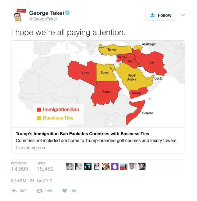 "George Takei posted on Twitter, sharing an article that made people think about the immigration ban. He wrote, ""I hope we're all paying attention."""