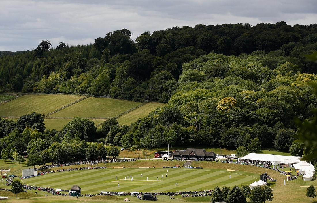 HIGH WYCOMBE, ENGLAND - AUGUST 12:  A general view of the ground from a nearby hillside during day two of the Women's Ashes Series match between England and Australia at Wormsley Cricket Ground on August 12, 2013 in High Wycombe, England.  (Photo by Harry Engels/Getty Images)