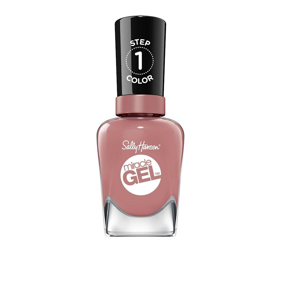 "<p>""I may not have experienced the luxury of a gel manicure in more than four months, but the finish of the Sally Hansen Miracle Gel has me convinced I have — in the comfort of my own home. Just two coats of the Rose the Shine, a muted mauve (seen above), plus a single coating of the Shiny Top Coat, gave me a glossy, long-wearing manicure that lasted two weeks without chips."" — <em>Sarah Kinonen, associate beauty director</em></p> <p><strong>$10</strong> (<a href=""https://shop-links.co/1713736510641667340"" rel=""nofollow noopener"" target=""_blank"" data-ylk=""slk:Shop Now"" class=""link rapid-noclick-resp"">Shop Now</a>)</p>"