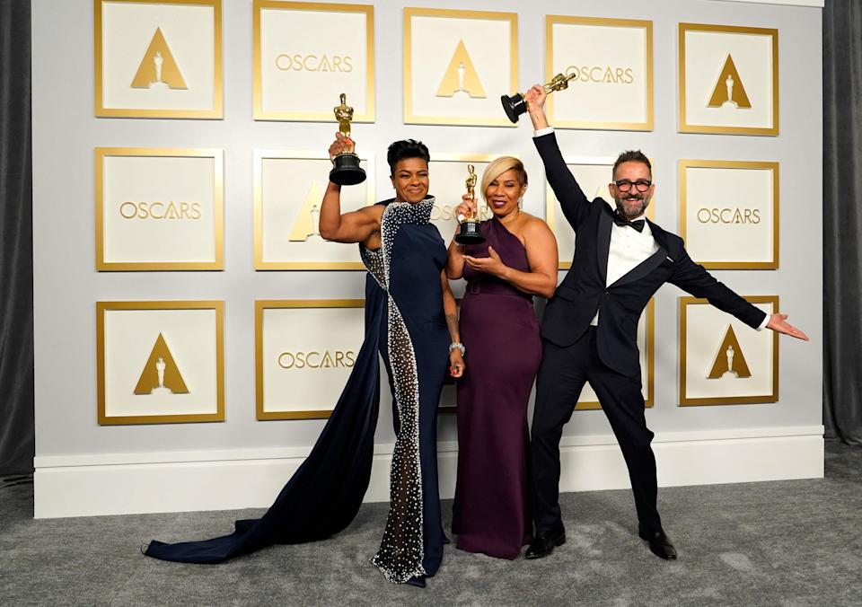 Mia Neal, Jamika Wilson and Sergio Lopez-Rivera, winners of the award for Best Make-up and Hairstyling for 'Ma Rainey's Black Bottom'AFP/Getty