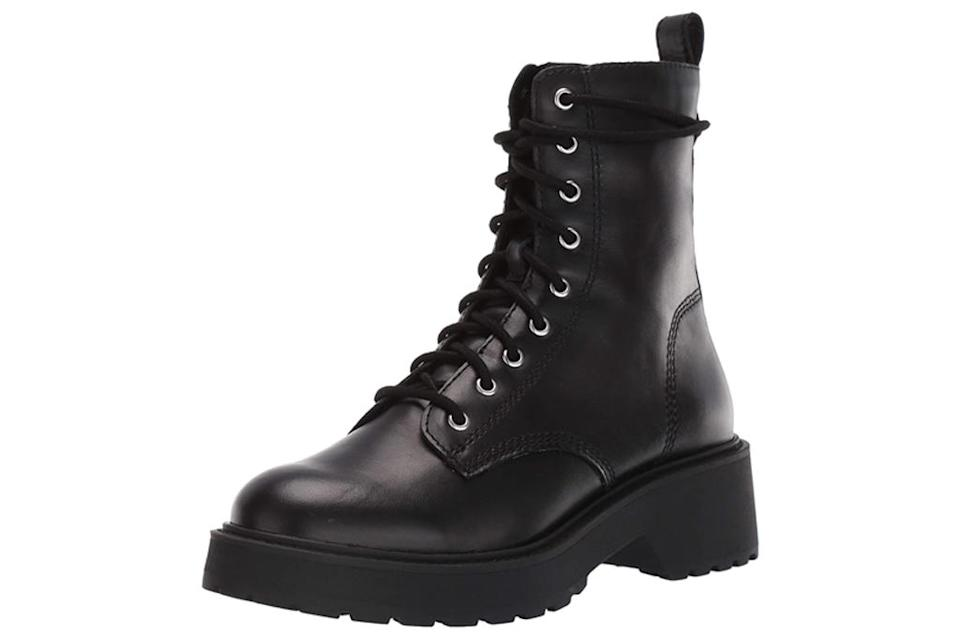 combat boots, black, leather, chunky, lace up, steve madden