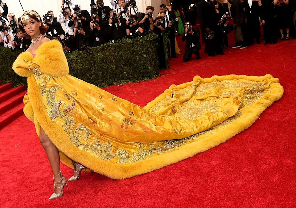 Rihanna chose a gown by Chinese couturier Guo Pei for the Met Gala in 2015 [Photo: Getty]