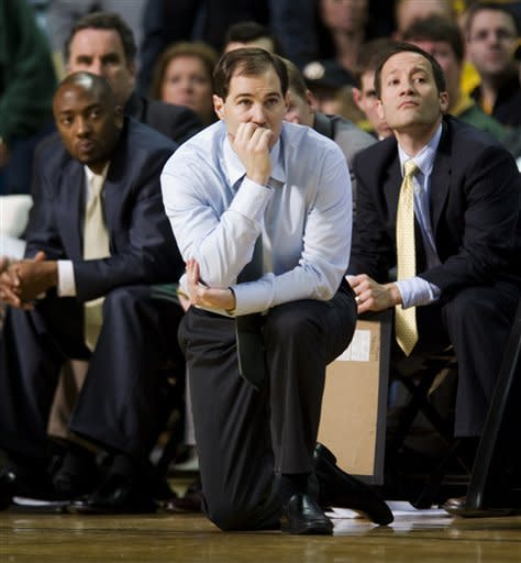 Baylor head coach Scott Drew watches his team late during the second half of an NCAA college basketball game against Missouri Saturday, Feb. 11, 2012, in Columbia, Mo. Missouri won the game 72-57. (AP Photo/L.G. Patterson)