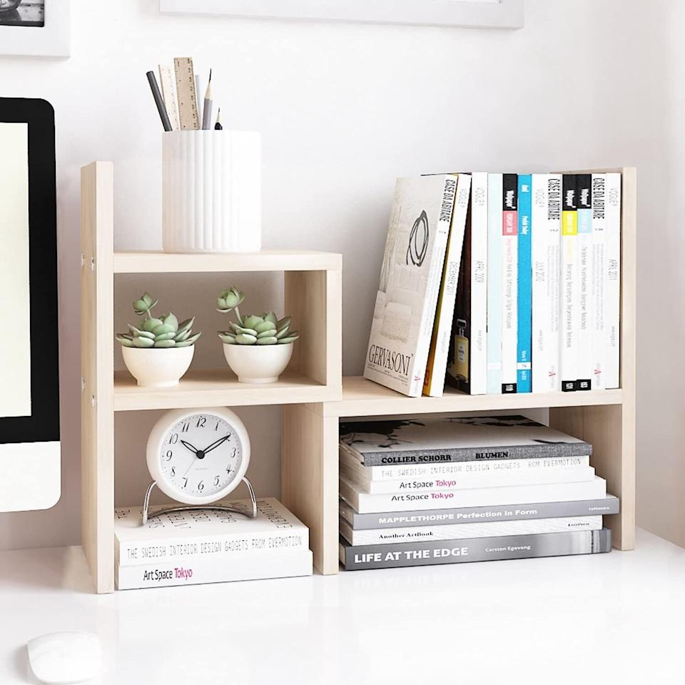 """Prevent clutter from taking over every inch of space on your desk.<br /><br /><strong>Promising review:</strong>""""The design is sleek and minimalist.<strong>I'm prone to clutter, so this shelf gives me a place to put things intentionally so that I don't get overwhelmed in my workspace.</strong>I also like that it<strong>only took about 10 minutes to fully assemble</strong>. If you've ever made your own IKEA furniture before, no need to fear; you'll do fine."""" --<a href=""""https://amzn.to/3vIQKUj"""" target=""""_blank"""" rel=""""noopener noreferrer"""">Mary Anne Layus</a><br /><br /><strong>Get it from Amazon for <a href=""""https://amzn.to/3nSvyZ8"""" target=""""_blank"""" rel=""""noopener noreferrer"""">$26.99</a> (available in three colors).</strong>"""