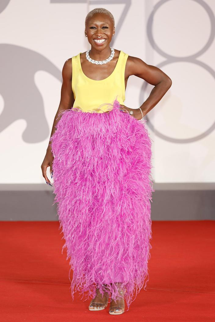 <p>We hardly have words for this show-stopping Valentino look Cynthia Erivo wore to the Venice Film Festival. We're in love with the whole moment. </p>