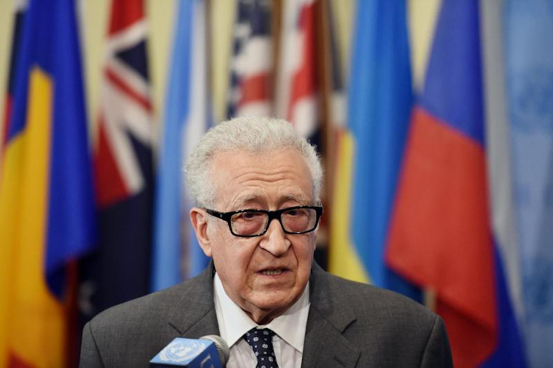 A picture taken on May 13, 2014 shows Lakhdar Brahimi, former United Nations and Arab League Special Envoy to Syria, speaking to the media in New York (AFP Photo/Stan Honda)