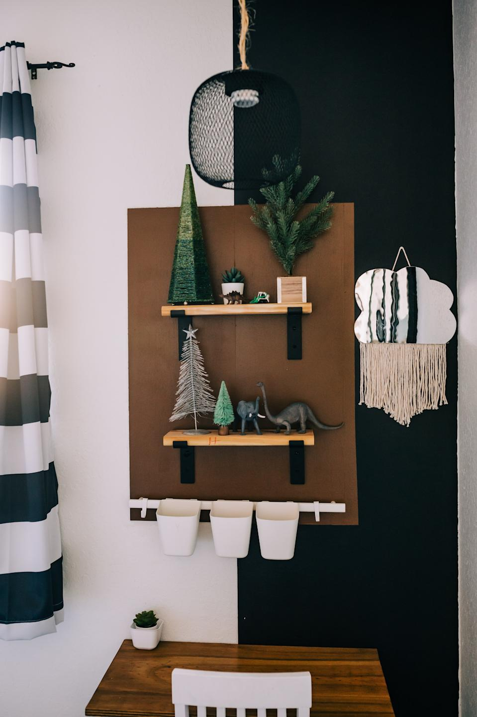 Jaclyn Quinones of Crazy Life With Littles DIYs a color block wall with a custom shelf.