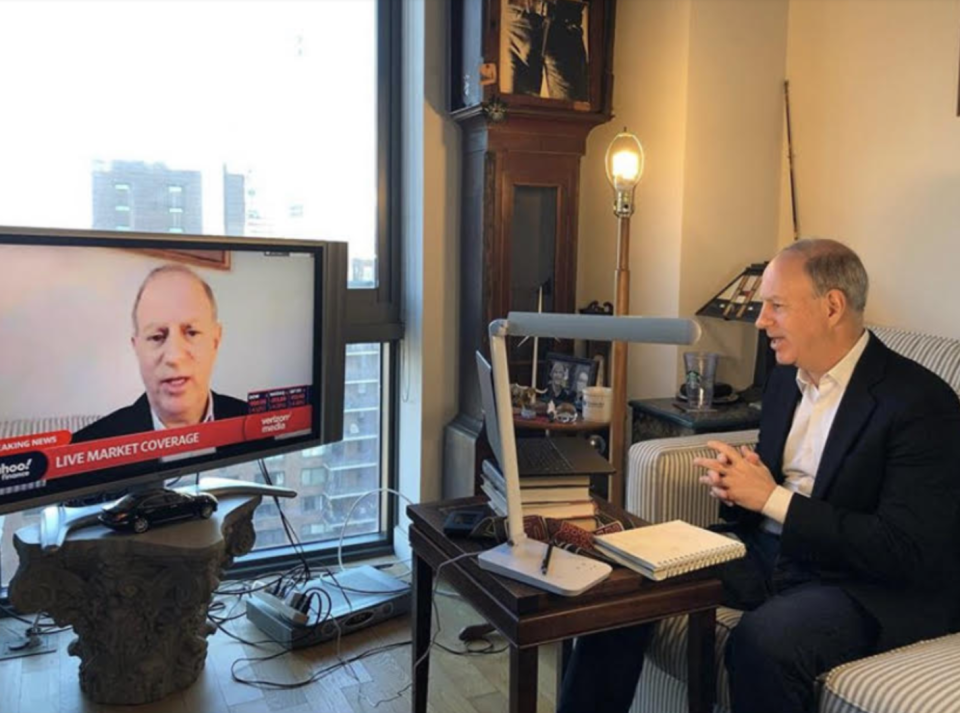 Yahoo Finance editor-in-chief Andy Serwer calls in from home this week.