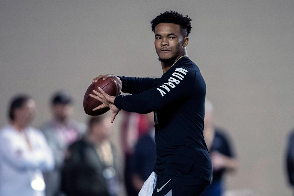 Mar 13, 2019; Norman, OK, USA; Oklahoma quarterback Kyler Murray participates in positional workouts during pro day at the Everest Indoor Training Center at the University of Oklahoma. Mandatory Credit: Jerome Miron-USA TODAY Sports
