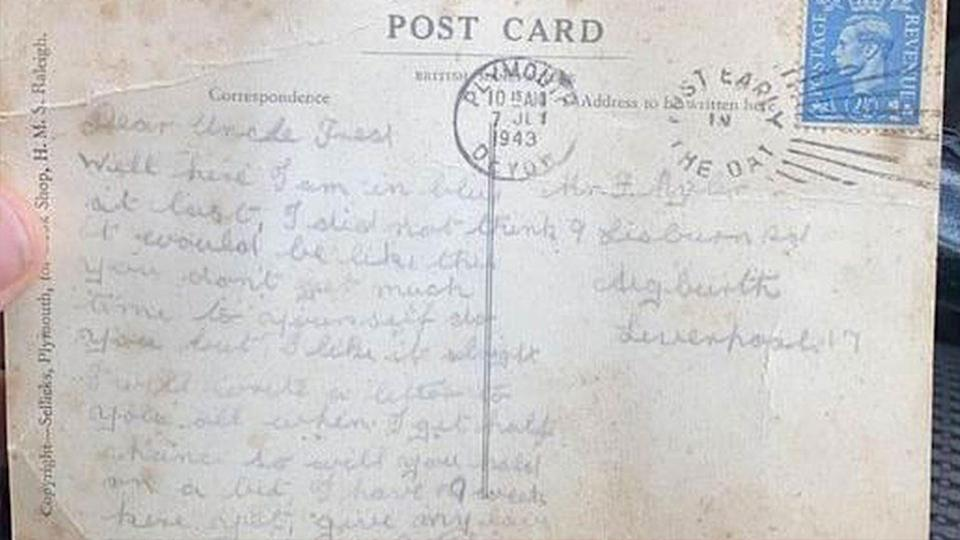 Bill Caldwell's postcard is pictured.