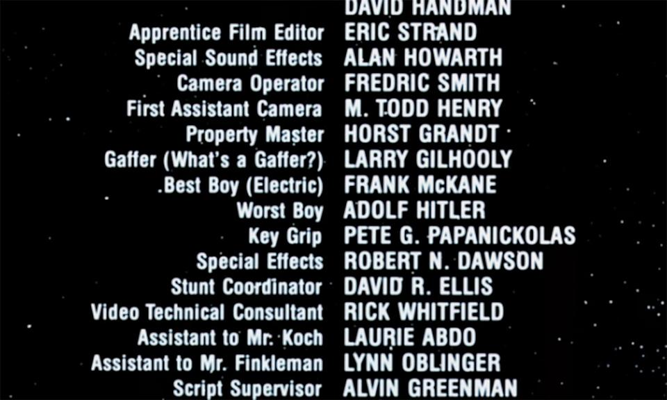 """<p>""""Best boy"""" is the film lingo title given to assistants of the Key Grip (lighting and rigging) and the Gaffer (electricians). The thousand-gag-a-minute 'Airplane!' name checked a """"Worst Boy"""" in its credits, no prizes for guessing who that would be. </p>"""