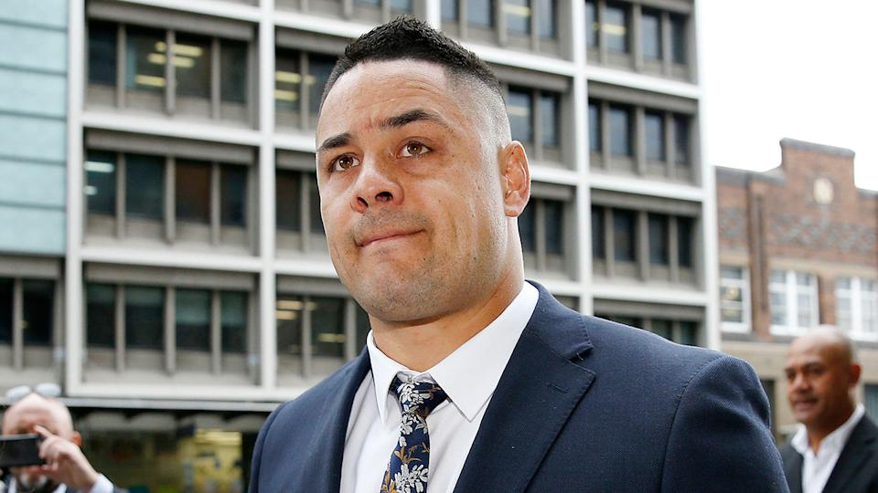 Pictured here, Jarryd Hayne appeared before a Newcastle court on Monday.