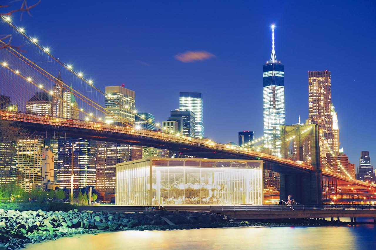 Originally built in 1922 and located on the banks of the East River, Brooklyn's <strong>Jane's Carousel</strong> has become a popular destination to visit. After extensive renovations, the carousel reopened in 2011 and featured, among other additions, a jewel-like glass exterior that was designed by architect Jean Nouvel.