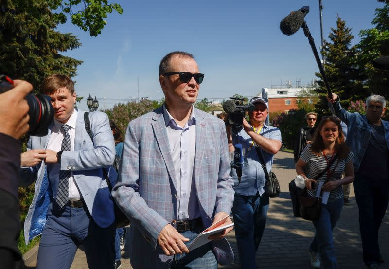 Ivan Pavlov, a lawyer defending Anti-Corruption Foundation in an extremism case, arrives at a court building in Moscow